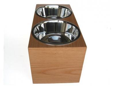 Pets Stop Wooden Bone Cut Double Diner - Medium - WRDB1M