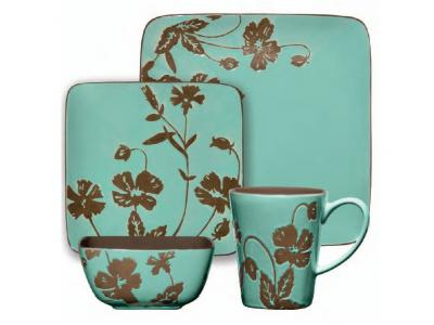 Gibson Montville 16 Pc Square Dinnerware Set Brown Teal