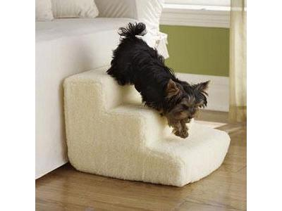 3 Step Foam Pet Stairs With Standard Beige Shearling Cover - 3SWSC