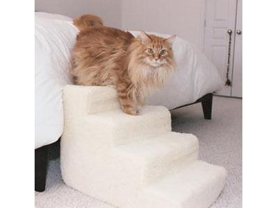 4 Step Foam Pet Stairs With Standard Beige Shearling Cover - 4SWSC