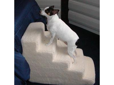5 Step Foam Pet Stairs With Standard Beige Shearling Cover - 5SWSC