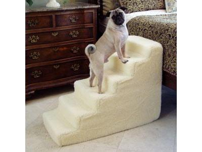 6 Step Foam Pet Stairs With Standard Beige Shearling Cover - 6SWSC