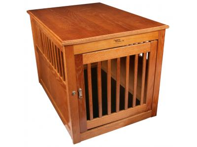 Dynamic Accents Oak End Table Pet Crate Large - Burnished Oak - 52169