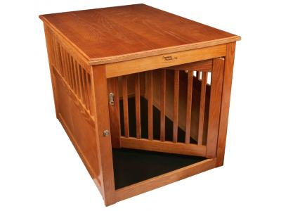 Dynamic Accents Oak End Table Pet Crate Large - Burnished Oak - 52169