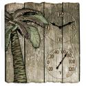 Springfield 12'' x 13'' Palm Tree Theme Poly Resin Clock and Thermometer - 91940