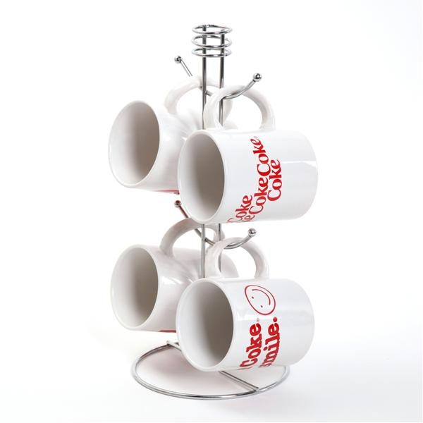 Gibson 5pc Coca-Cola Mug Set w/ Metal Rack - 79731.05