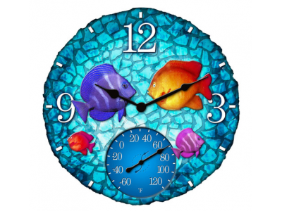 Springfield 14'' Tropical Mosaic Fish Clock w/ Thermometer - 92501