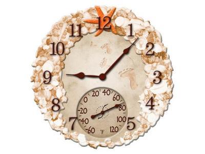 Springfield 14'' Seashells Clock w/ Thermometer - 92622