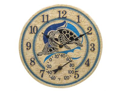 Springfield 12'' Turtles Clock with Thermometer - 92329