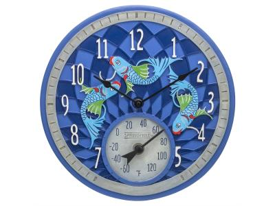Springfield 12'' Koi Fish Clock with Thermometer - 92328