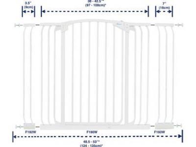 Dream Baby Tall Hallway Swinging Gate Combo Pack - (38'' - 53'') White - L792W