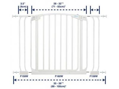 Dream Baby Standard Swinging Gate Combo Pack - (28'' - 39'') White - L778W