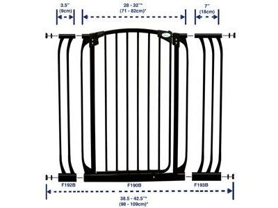 Dream Baby Tall Swinging Gate Combo Pack - (28'' - 42.5'') Black - L782B