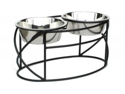 Pets Stop RDB8M Oval Cross Double Diner Medium - RDB8M